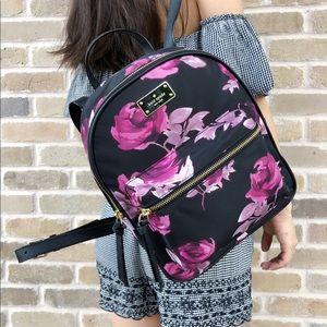 Kate spade Wilson Drive rose black Backpack satin